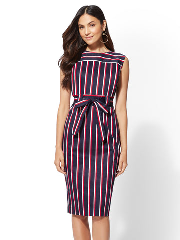 7th Avenue - Navy Stripe Sheath Dress in Grand Sapphire