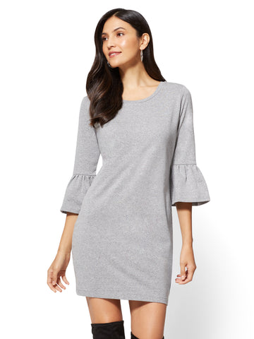 Ruffle-Sleeve Sweatshirt Dress in Granite Dust Heather Scs