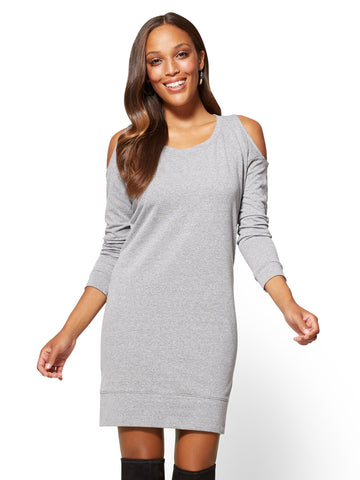 Cold-Shoulder Sweatshirt Dress in Granite Dust Heather