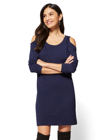 Cold-Shoulder Sweatshirt Dress in Grand Sapphire