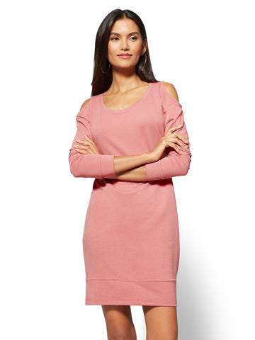 1c5a1213efc New York   Company Soho Street - Cold-Shoulder Sweatshirt Dress in Pink  Rouge