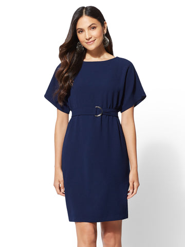 Belted Short-Sleeve Dress in Grand Sapphire
