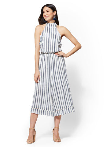 Striped Culotte Jumpsuit in Paper White