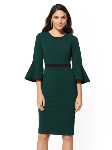 NEW YORK   COMPANY 7th Avenue - Piped Bell-Sleeve Sheath Dress in Velvet  Green a9dab8a99