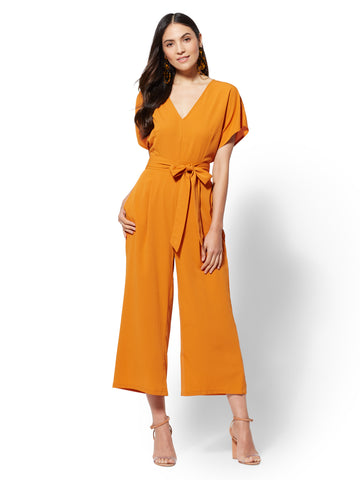 V-Neck Culotte Jumpsuit in Honey Glaze