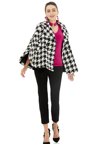 Wool Cape - Houndstooth  in Black/White