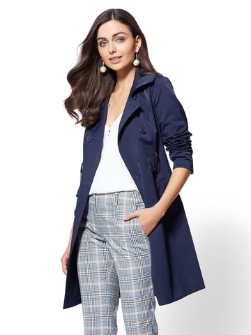 7th Avenue - Long Belted Trench Coat in Grand Sapphire