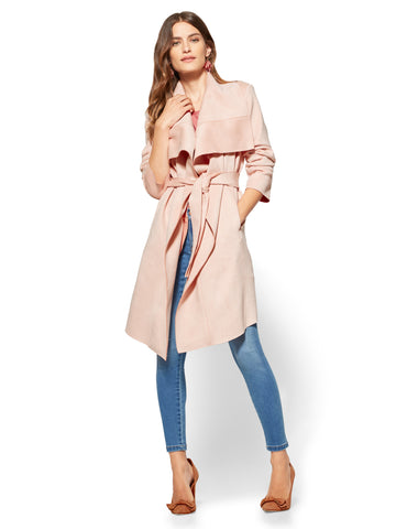 Ultra-Suede Open-Front Trench Coat in Blush