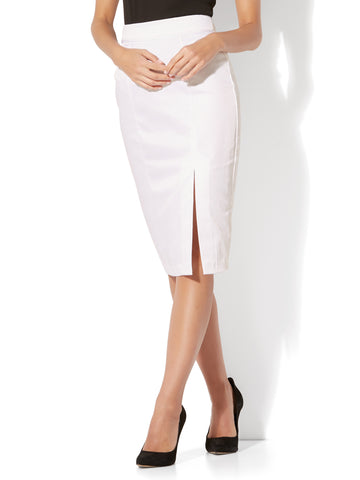 7th Avenue - Front Slit Pencil Skirt - Modern - Twill in Optic White