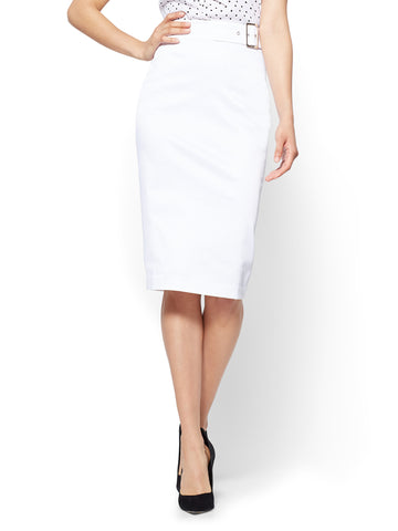 7th Avenue - Twill Pencil Skirt in Optic White
