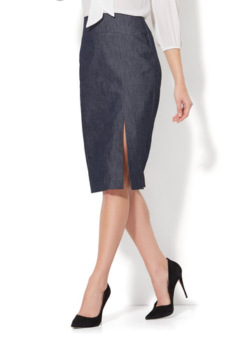 7th Avenue - Front Slit Pencil Skirt - Modern in Grand Sapphire