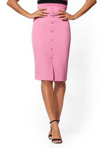 Belted Button-Front Pencil Skirt - 7th Avenue in Cafe Rose