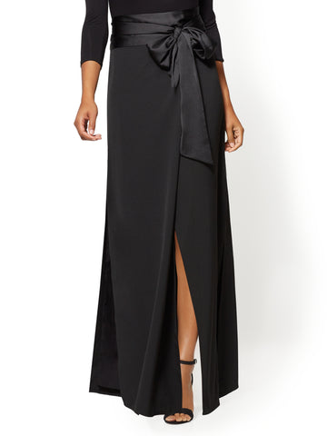 Tie-Front Wrap Maxi Skirt in Black