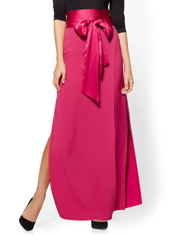 Tie-Front Wrap Maxi Skirt in Primrose