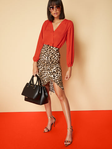Leopard-Print Ruched Pencil Skirt - 7th Avenue in Black