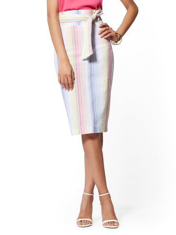Paperbag-Waist Pencil Skirt - 7th Avenue in Stripes-Multi