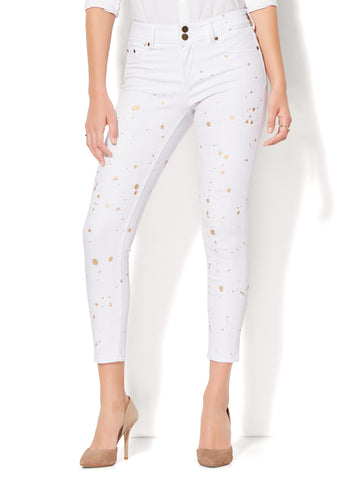 Soho Jeans - Painted High-Waist Ankle Legging in White