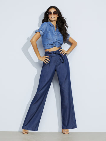 Soho Jeans - Paperbag Waist - Wide Leg - Rinse in Rinse