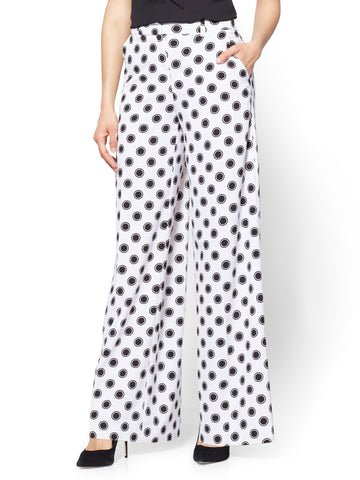 Palazzo Pant - Circle Print in Paper White