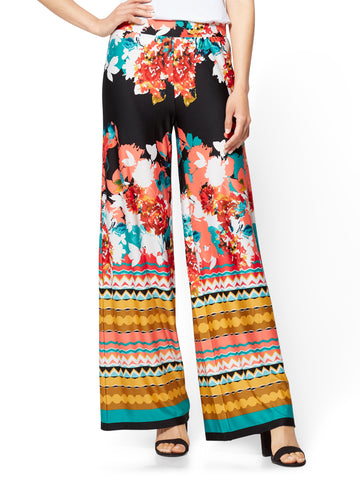 Palazzo Pant - Floral & Graphic Prints in Black