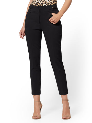 Buckle-Accent Ankle Pant - 7th Avenue in Black