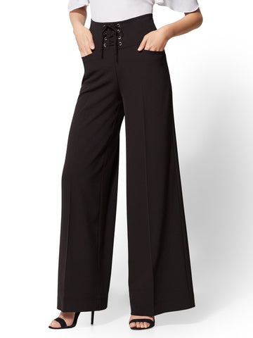Black Lace-Up Palazzo Pant in Black