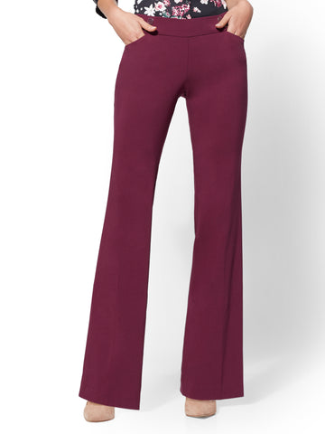 7th Avenue Pant - Button-Accent Bootcut in Burgundy Spice