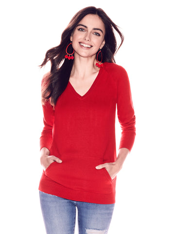 V-Neck Hooded Sweater in Flamenco Red