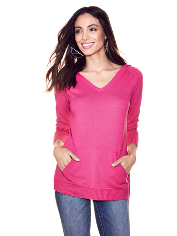 V-Neck Hooded Sweater in Gleaming Pink