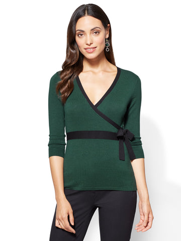 7th Avenue Sweater - Bow-Accent Wrap  in Velvet Green