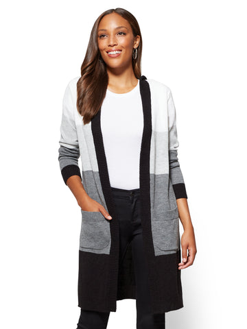 Hooded Duster Cardigan - Stripe in Winter White