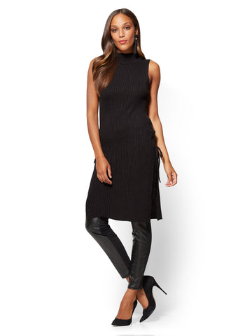 Lace-Up Mock-Neck Tunic Sweater in Black