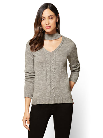 Hi-Lo Choker Sweater in Medium Heather Grey