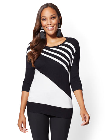 7th Avenue - Stripe Dolman Sweater in Black
