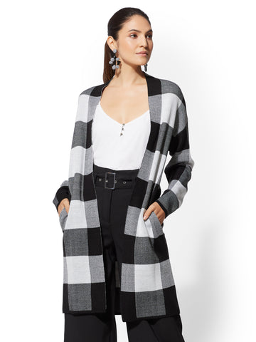 7th Avenue - Plaid Coatigan in Black
