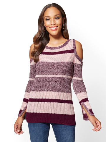 Cold-Shoulder Crewneck Sweater in Simply Divine Wine