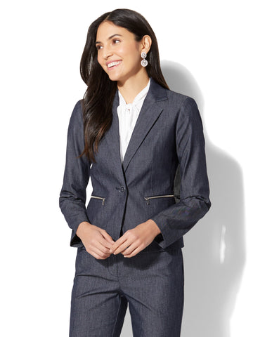 7th Avenue Jacket - One-Button - Modern - Zip Accent in Grand Sapphire