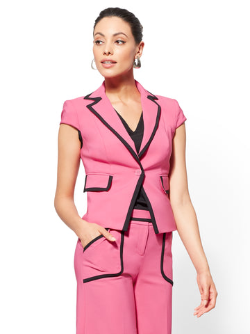 7th Avenue - Piped V-Neck Jacket in Hibiscus Pink