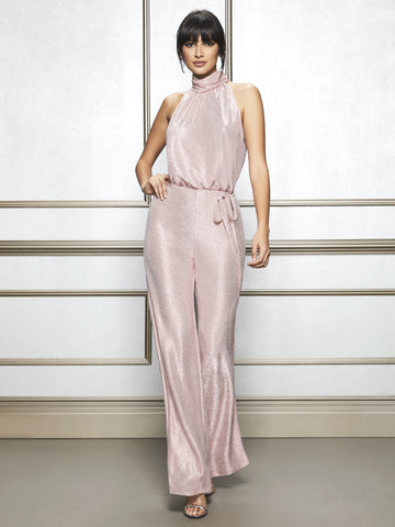 a1433b3935e3 NEW YORK   COMPANY Eva Mendes Collection - Eleni Mock-Neck Jumpsuit in Pink  Sky