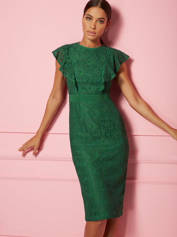 Fabiola Dress - Eva Mendes Party Collection in Warrior Green