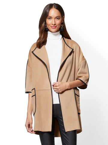 Faux-Leather Trim Kimono Coat in Classic Camel