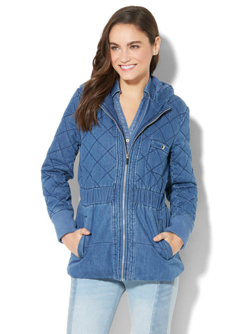 Quilted Denim Jacket in Indigo Blue Wash