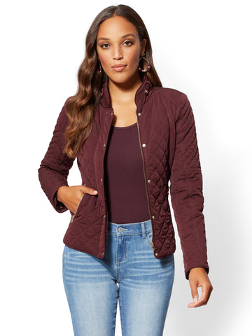 Quilted Jacket  in True Burgundy