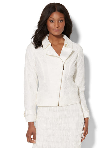 Lace-Overlay Moto Jacket in Winter White