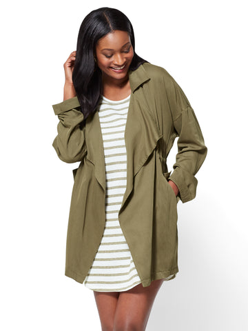 Open-Front Soft Jacket in Olive