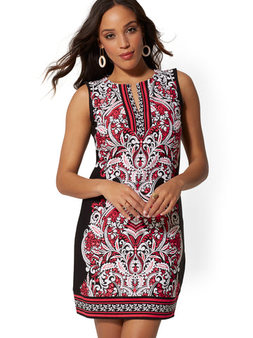 Paisley Cotton Shift Dress in Black