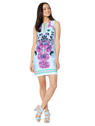 Cotton Split-Neck Shift Dress - Print in Soaring Blue