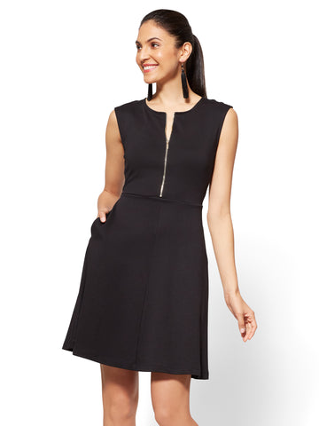 Cotton Zip-Front Fit & Flare Dress in Black