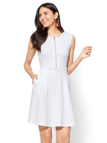 Cotton Zip-Front Fit & Flare Dress in Optic White