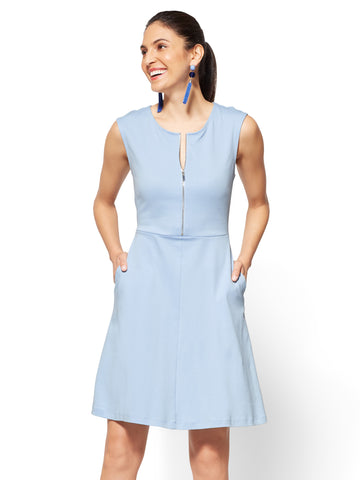 Cotton Zip-Front Fit & Flare Dress in Soaring Blue